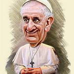 Karikatur von Papst Franziskus