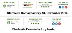 """Ausschnitt von der Startseite von Domainfactory einmal mit und einmal ohne """"Hosting made in Germany"""""""