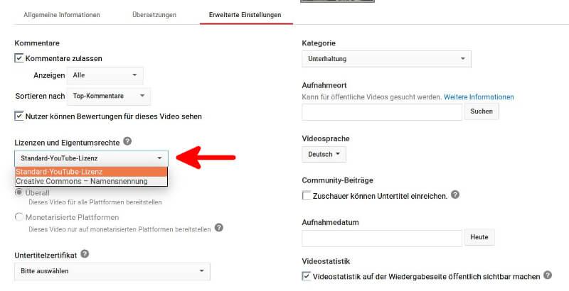 Einstellungsmöglichkeit im Youtube-Studio