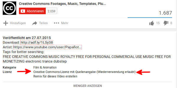 Screenshot von einem Youtube-Video unter Creative Commons Lizenz